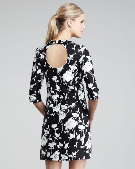 dorothy printed keyhole-back dress