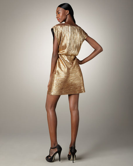 Metallic Blouson Cocktail Dress