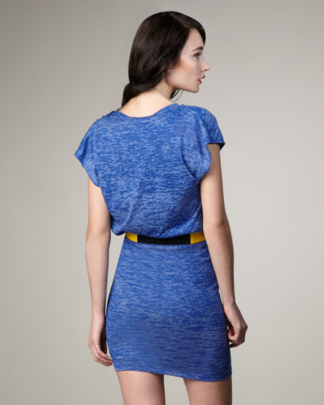 Cobalt Cowl-Neck Drape Dress