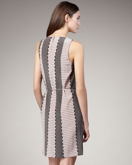 Tile-Stripe Drape Dress
