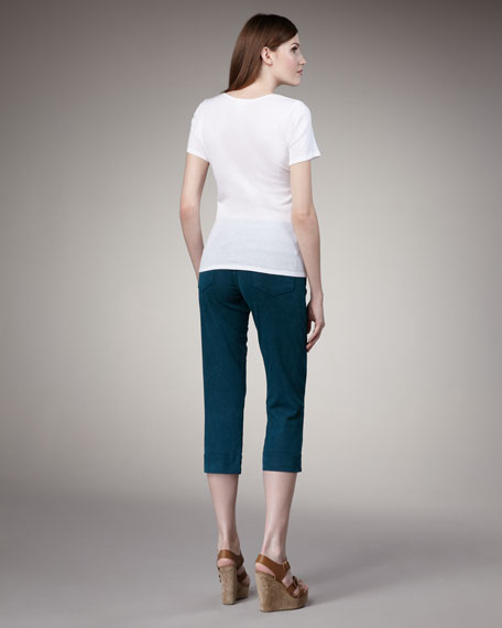 Mercy Cropped Jeans, Teal