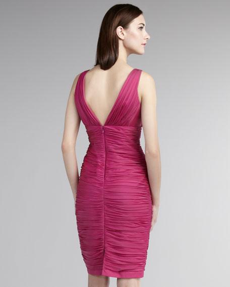 Ruched V-Neck Cocktail Dress