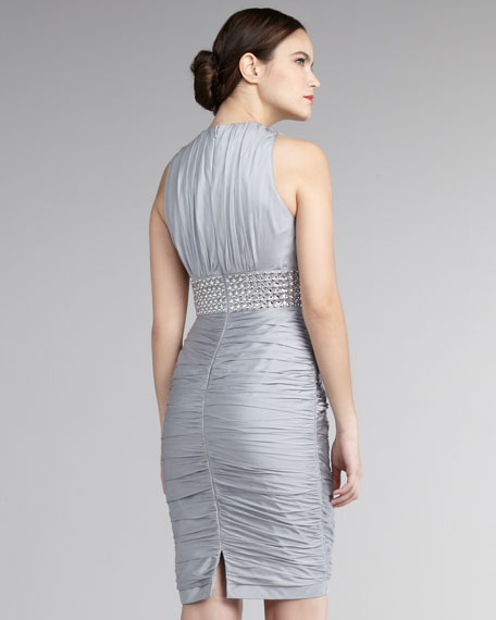 Ruched Beaded-Waist Dress