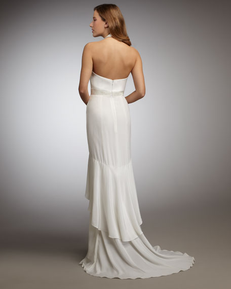 Ruffle-Front Halter Gown