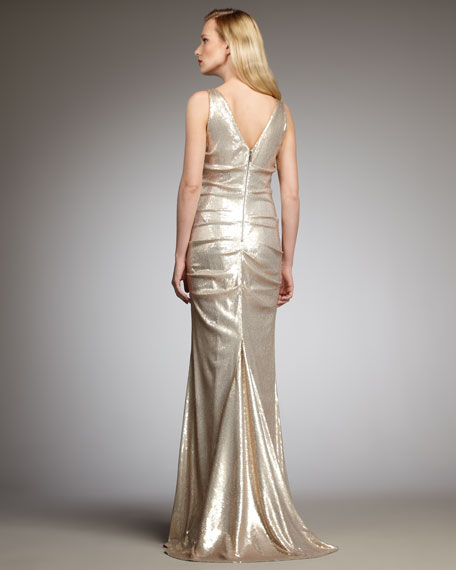 Cowl-Neck Sequin Gown