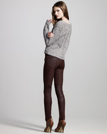 Skinny Stretch-Leather Pants