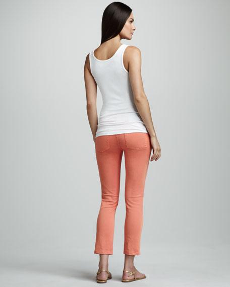 Cropped Skinny Jeans, Orange
