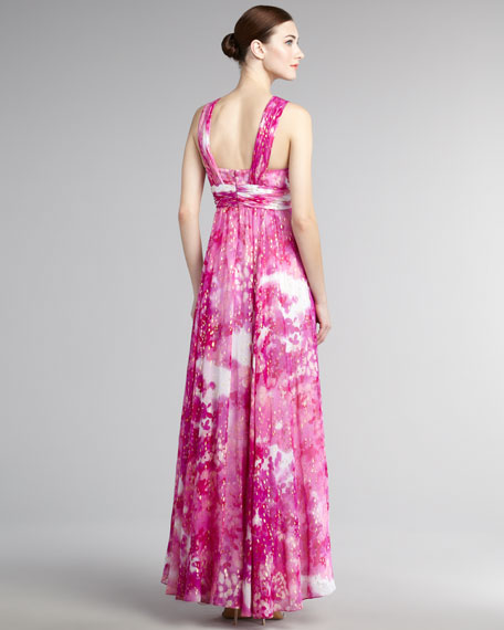 Deep-V Printed Gown