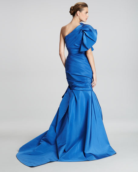 One-Shoulder Draped Trumpet Gown