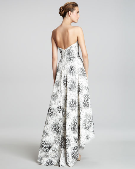 Hi-Lo Strapless Beaded Gown