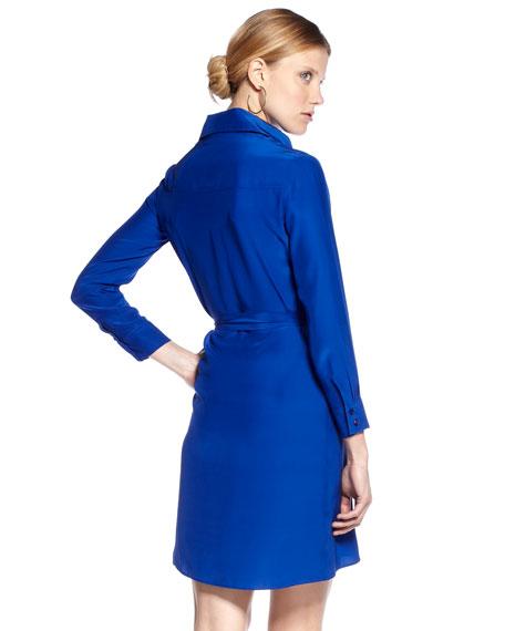 Long-Sleeve Silk Shirtdress