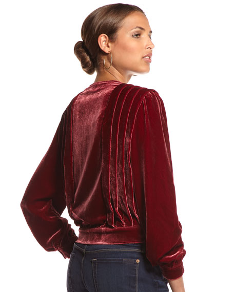 Pleated Velvet Blouse