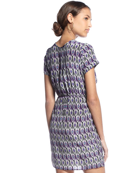 Feather-Printed Silk Galveston Dress