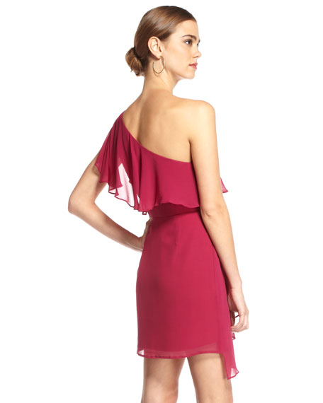 One-Shoulder Ruffle Dress, Berry