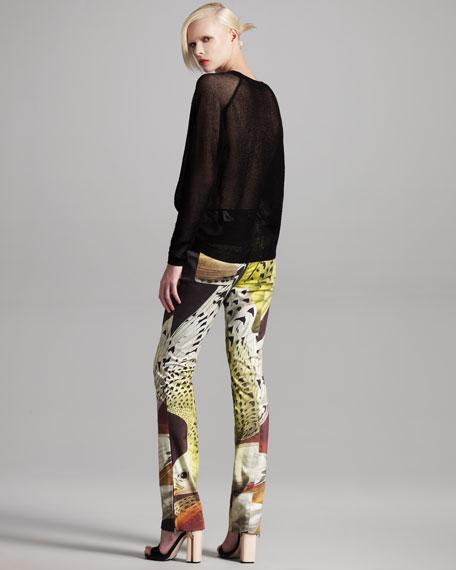 Printed Straight-Leg Pants