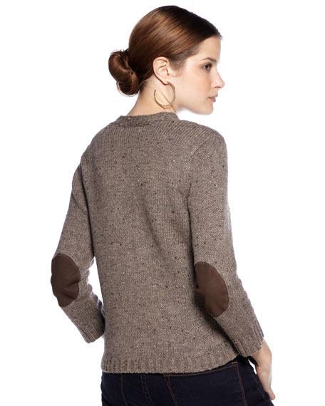 Tweed Elbow-Patch Cardigan