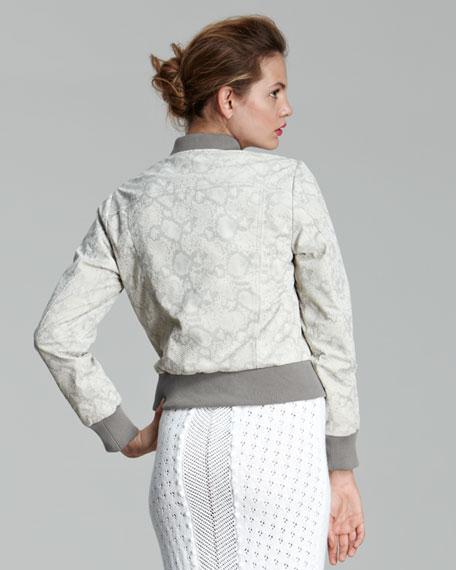 Python-Print Leather Bomber Jacket