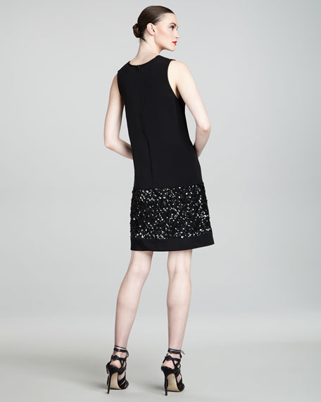 Beaded-Bottom Shift Dress