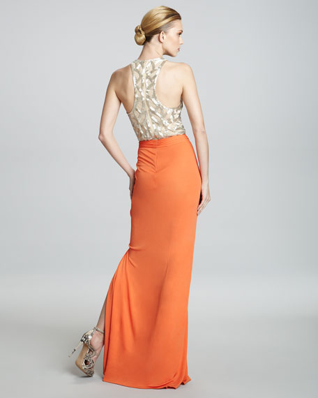 Embroidered-Bodice Combo Gown