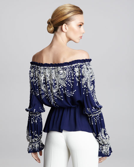 Off-the-Shoulder Embroidered Peasant Blouse