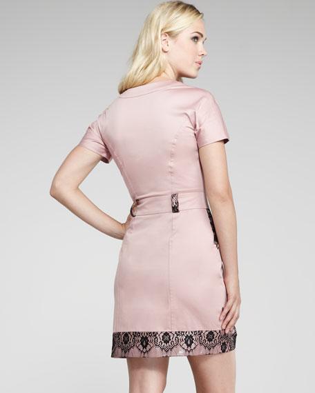 Cargo-Pocket Lace-Trim Dress