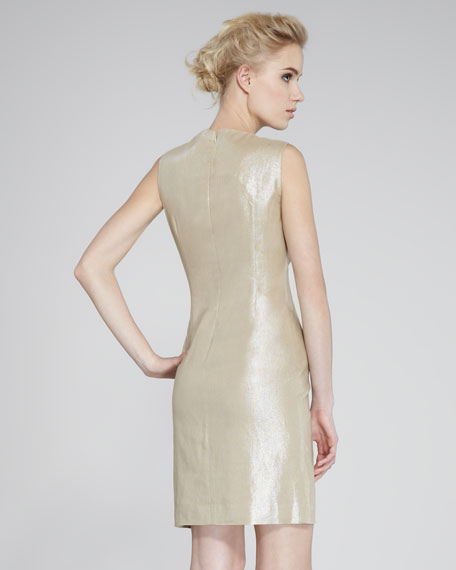 Bead-Front Taffeta Sheath Dress