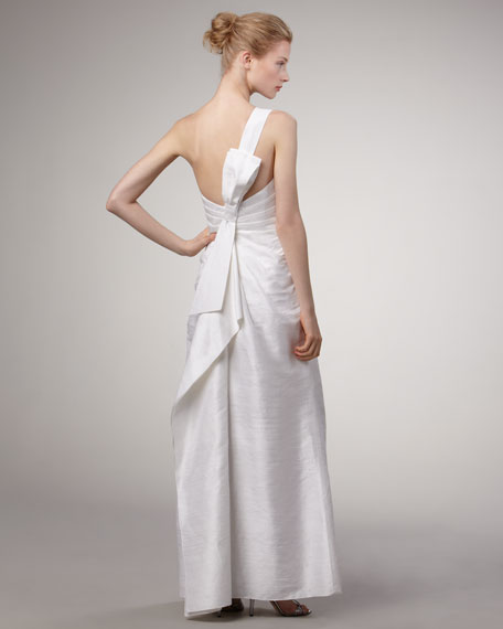 One-Shoulder Dupioni Gown