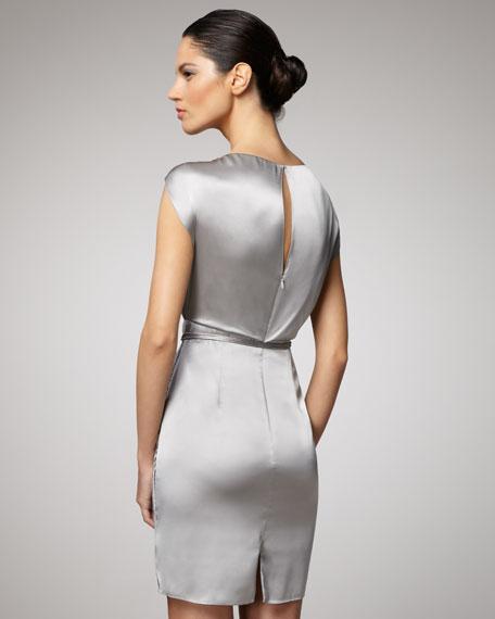 Flutter-Sleeve Metallic Dress