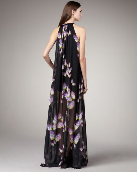 Butterfly-Print Maxi Dress