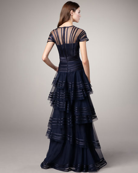Satin-Trim Staggered-Skirt Gown