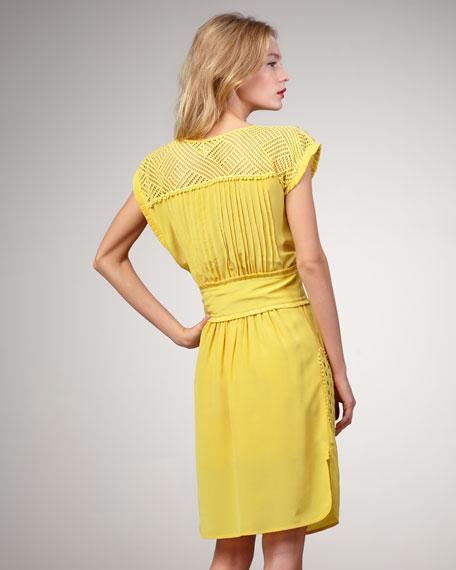 Wicker-Inset Belted Silk Dress