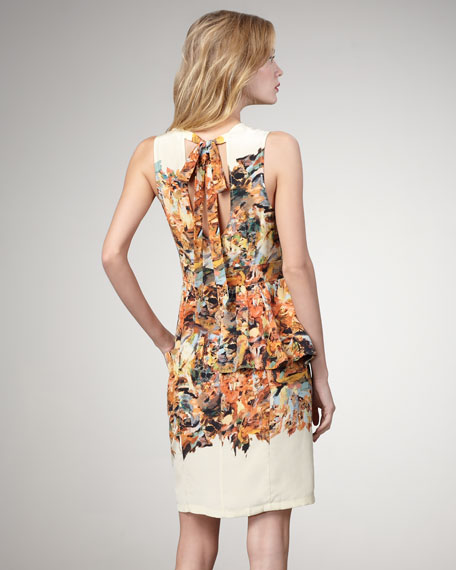 Painterly Print Peplum Dress