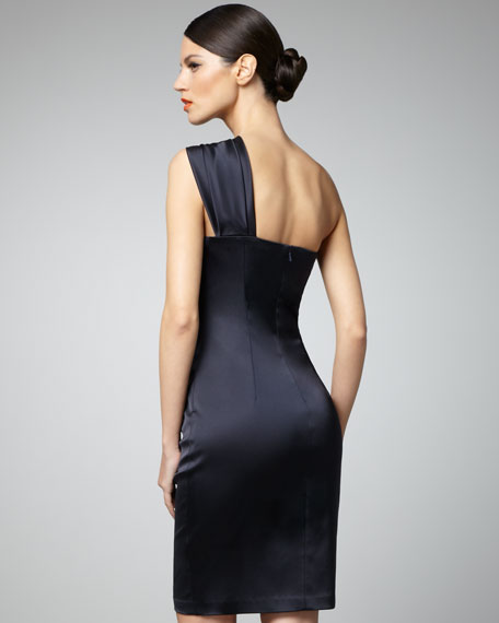 Side-Beaded One-Shoulder Cocktail Dress