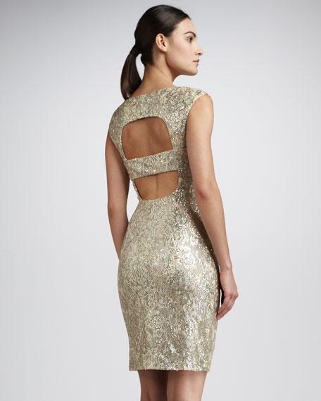Metallic Open-Back Dress