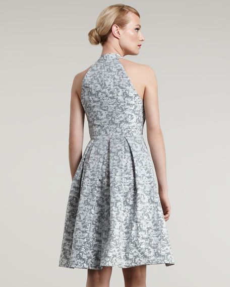 Halter Jacquard Dress