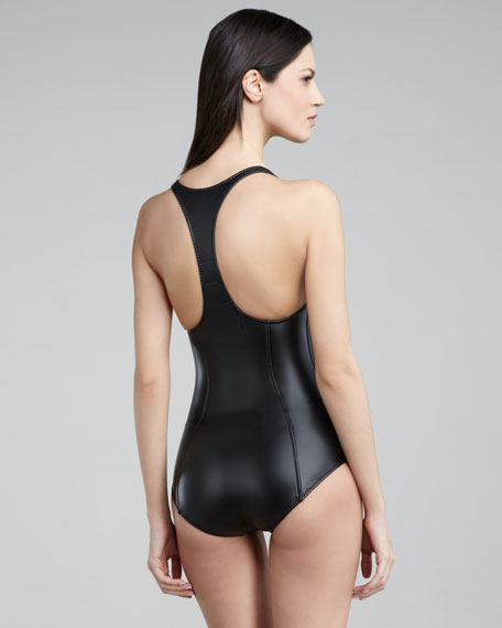Elisa Zip-Up Racerback One-Piece Swimsuit