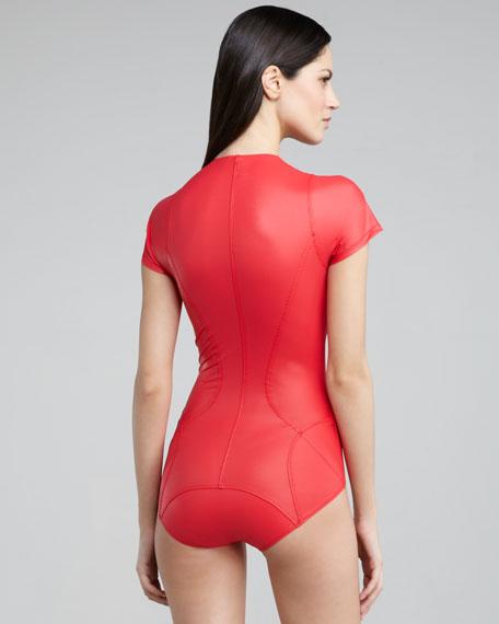 Farrah Short-Sleeve Scuba Swimsuit, Red