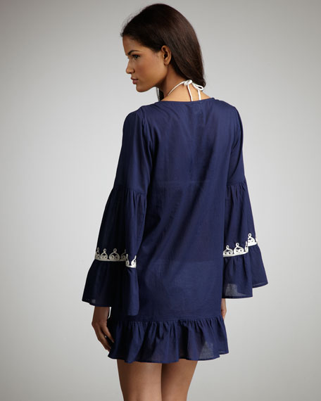 Sahara Embroidered Coverup, Navy