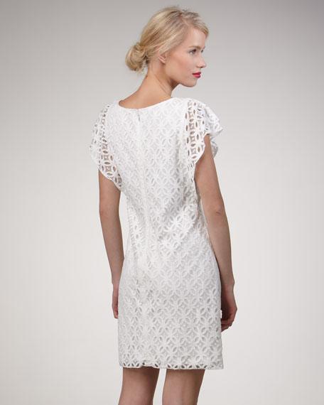 Cascade-Ruffle Lace Dress