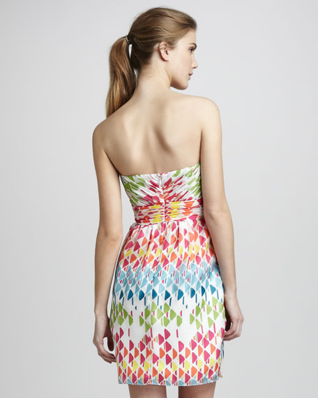 Kara Triangle-Print Strapless Dress
