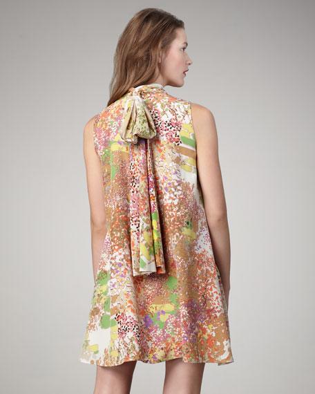 Scarf-Neck Shift Dress
