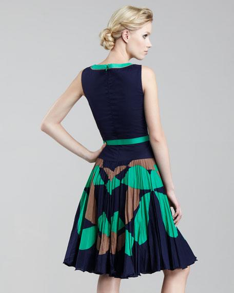 Chrystine Belted Drop-Skirt Dress