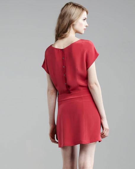 Pleated-Skirt Silk Dress