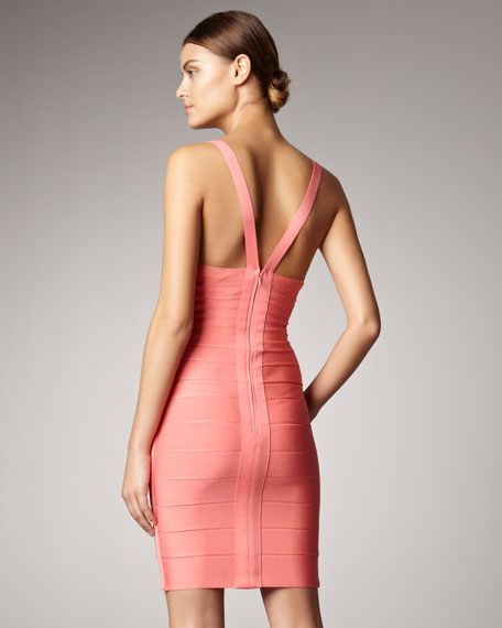 Sleeveless Bandage Dress, Coral
