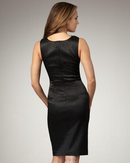 Crisscross-Neck Jacquard Dress