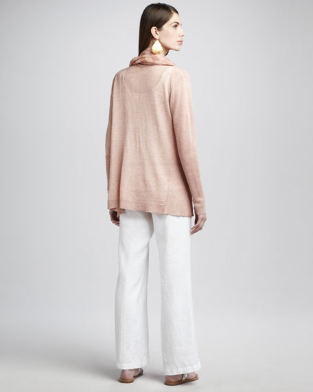 Ribbed Linen Cardigan, Toffee Cream, Women's