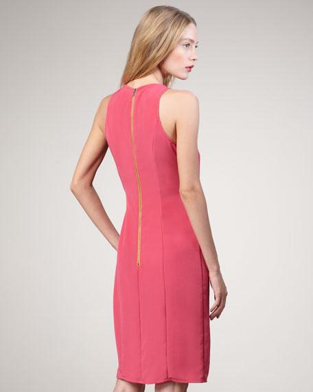 Jasmine Two-Tone Belt Pleated Dress