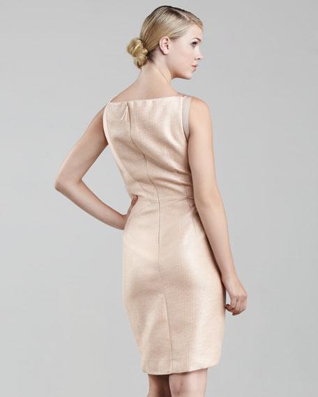 Asymmetric Pleated Raffia Dress, Peach