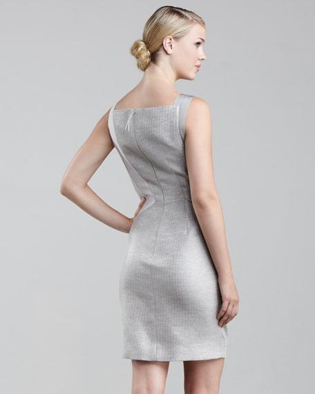 Asymmetric Pleated Raffia Dress, Pearl
