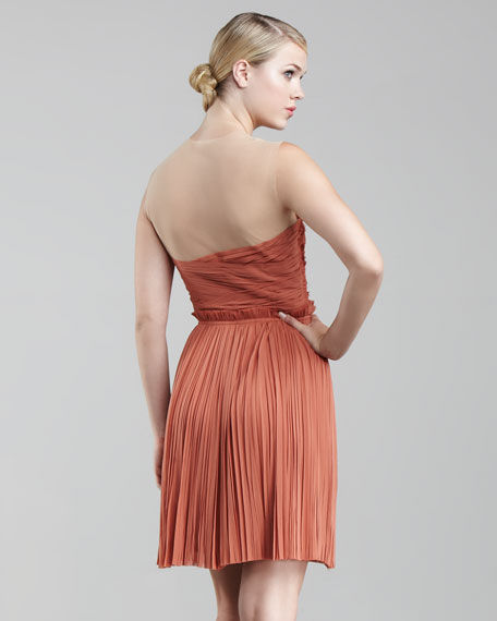 Ruched Chiffon Cocktail Dress, Desert